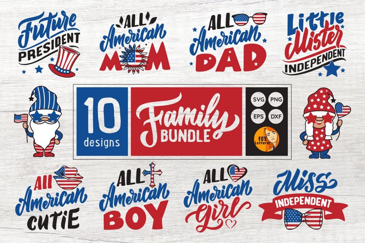 American family. Independence Bundle. Gnomes. 4 of July svg
