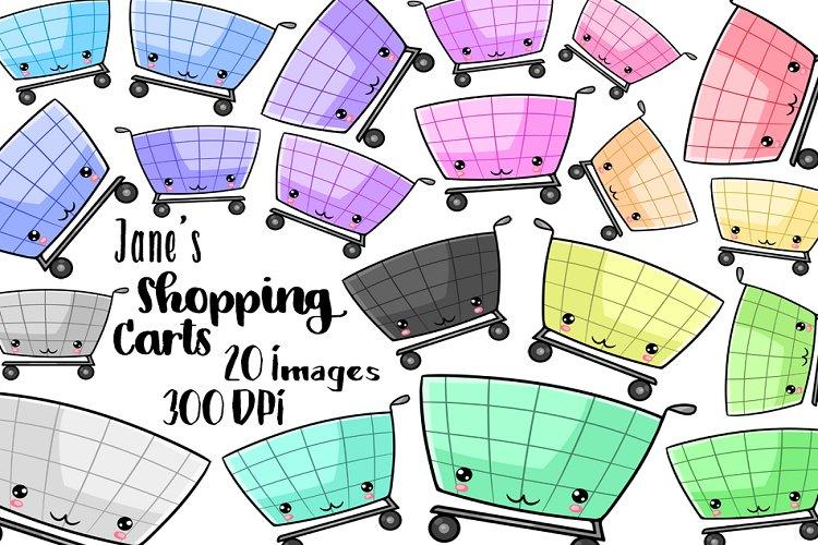 Kawaii Shopping Carts Clipart