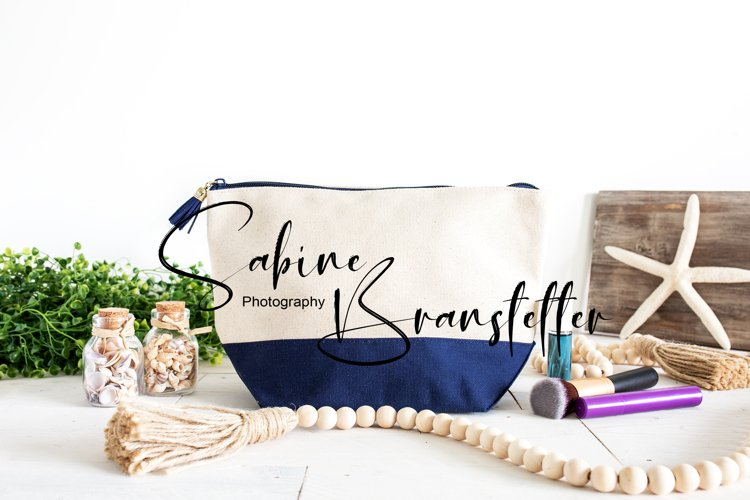 Mockup - Blank Nautical Themed Canvas Makeup Bag Photography