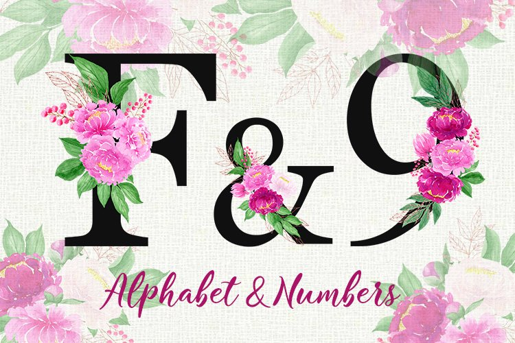 Floral alphabet with watercolor peonies, letters, numbers