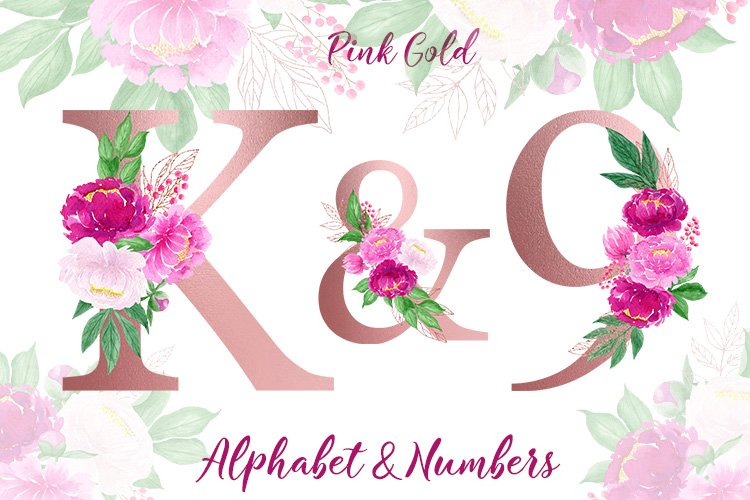 Rose gold floral alphabet with watercolor peonies, letters
