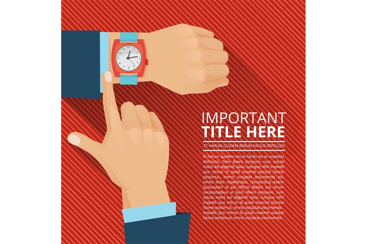 Businessman looking on the hand watch. Vector poster example image 1