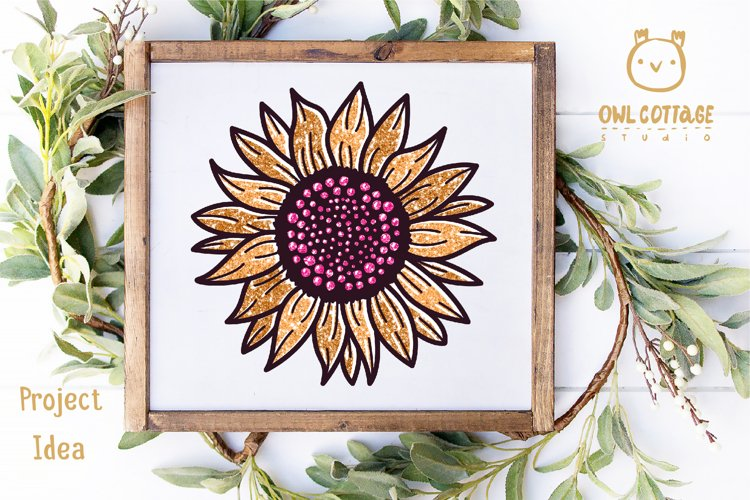 Golden Glitter Sunflowers Sublimations mini Bundle, Sunflowe example 10