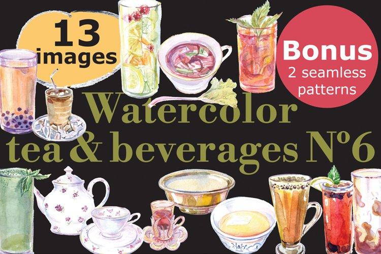 Watercolor vector tea & beverages-6