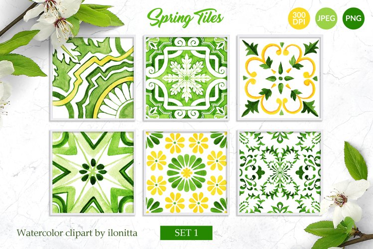 Spring Tiles Green Watercolor Clipart Set1