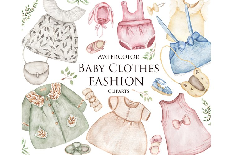 Watercolor Baby Clothes Clipart Set
