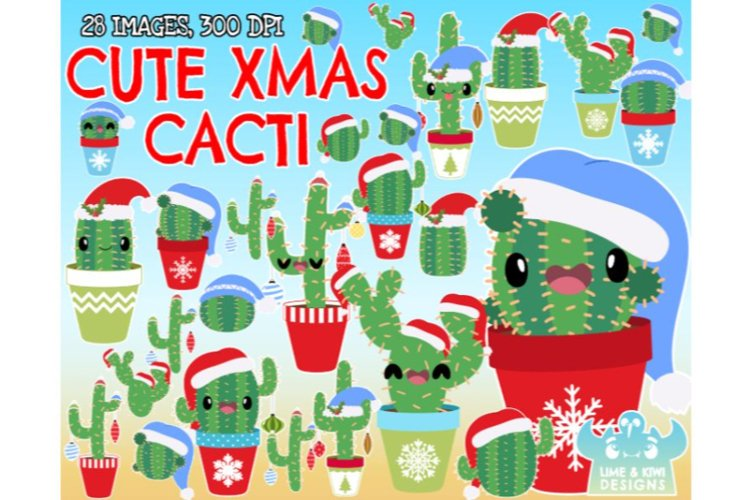 Cute Christmas Cacti Clipart - Lime and Kiwi Designs