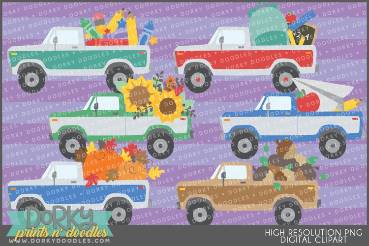 Vintage Truck School and Fall Clipart