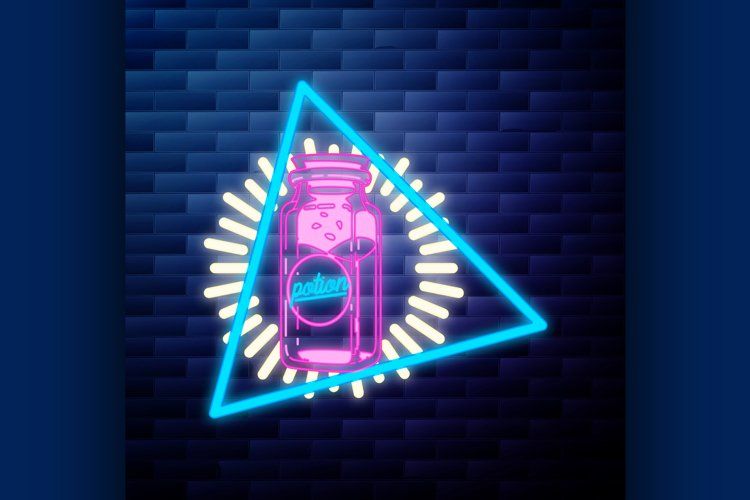 Vintage emblem glowing neon sign example image 1