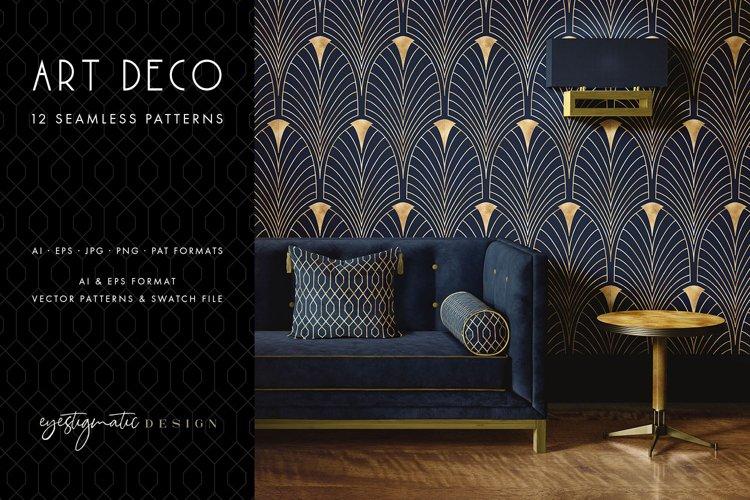 12 Seamless Art Deco Patterns - Gold & Blue