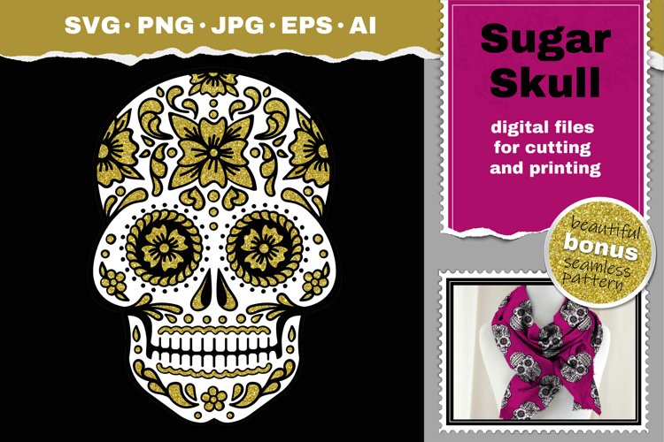 Sugar Skull svg Papercut svg day of the Dead example image 1