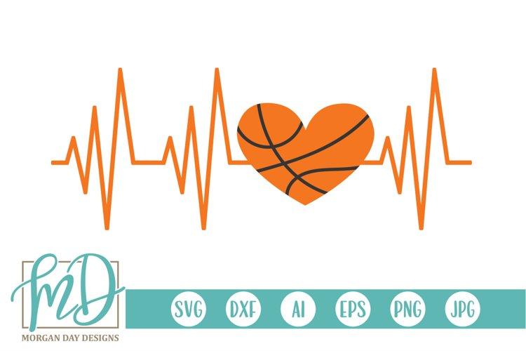 EKG - Basketball Mom - Basketball Heartbeat SVG example image 1