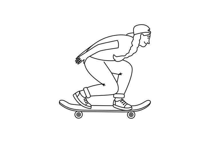 Skateboarder girl sketch example image 1
