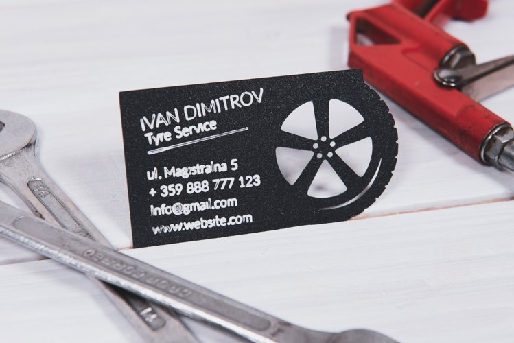 Tyre service business card template cutting file example image 1