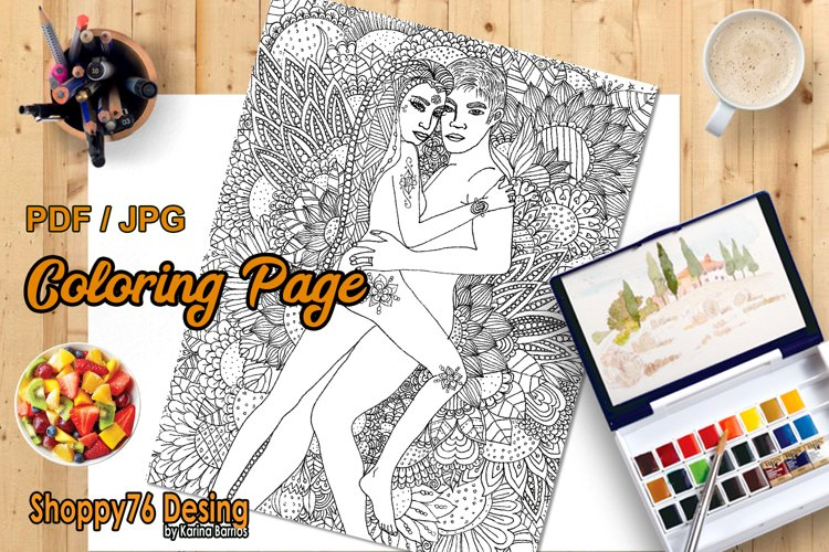 Floral love / coloring page example image 1