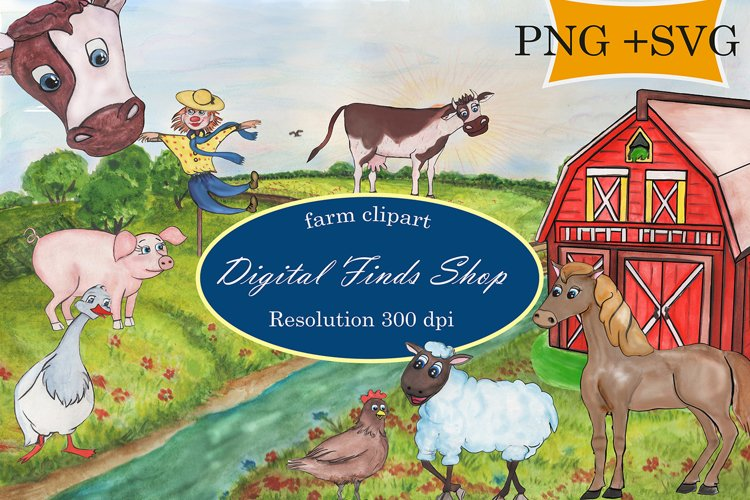 Farm clipart, farm animals in PNG, SVG formats watercolor