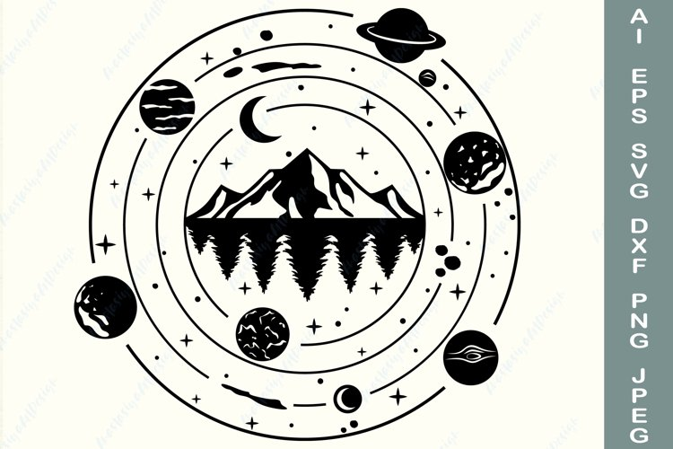 Mountain, forest svg, Galaxy svg, Adventure svg, Nature dxf