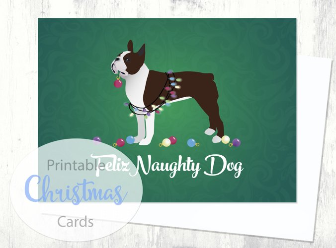 Boston Terrier - Brown - Dog Christmas Card from the Breed Collection - Digital Download Printable example image 1