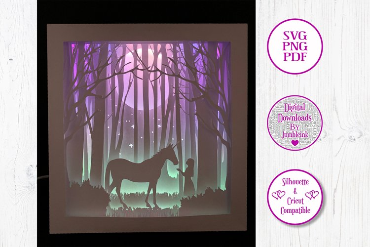 Unicorn and the Girl - 3D Paper Cut Template Light Box