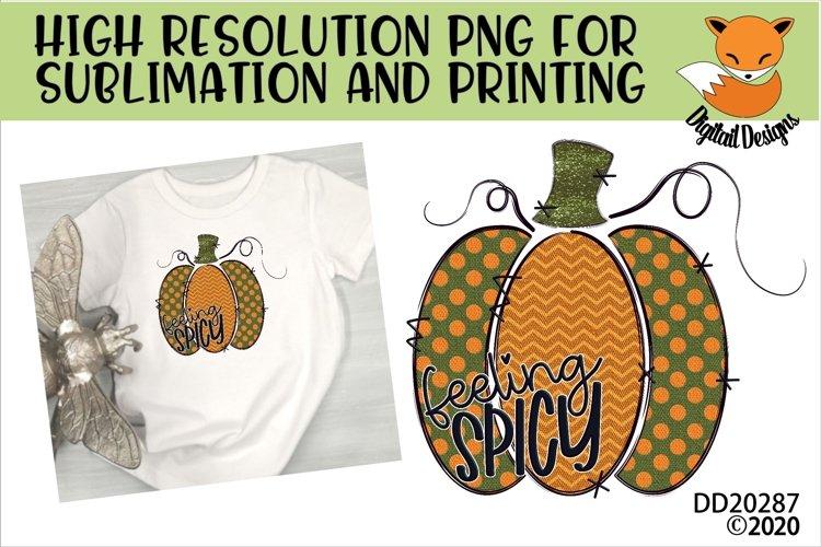 Feeling Spicy Doodle Pumpkin Sublimation Design example image 1