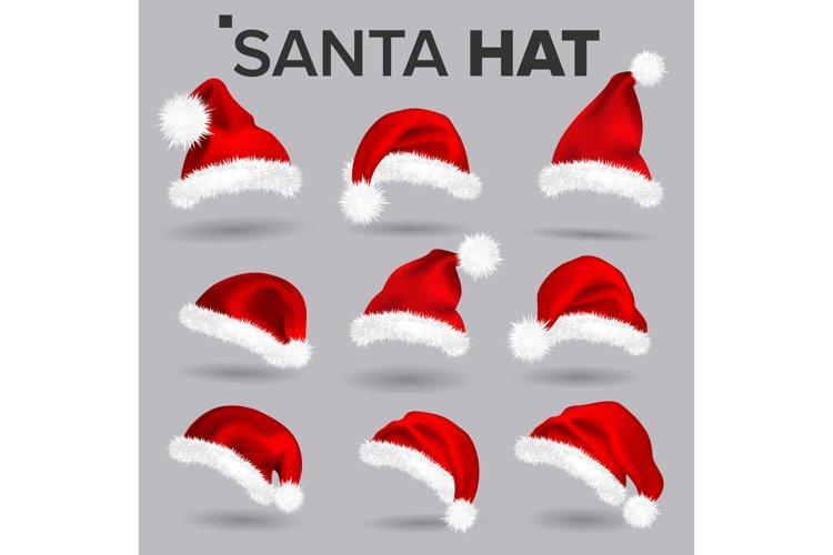 Santa Hat Set Vector. Santa Claus Holiday Red And White Cap example image 1