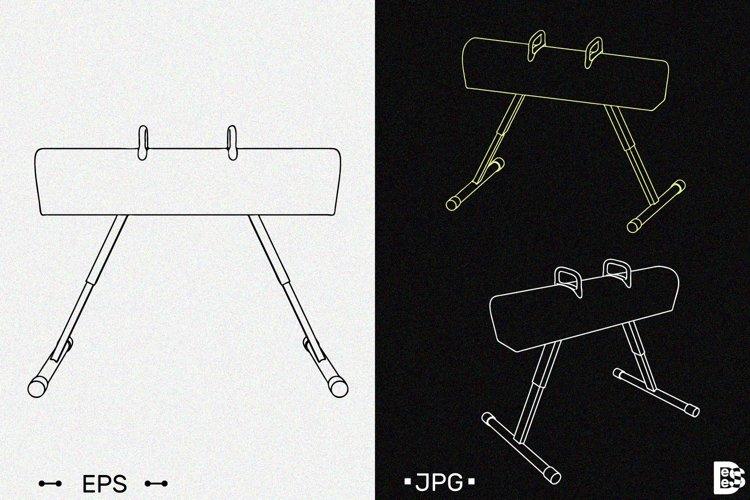 Pommel horse clipart. Vector outline illustrations.