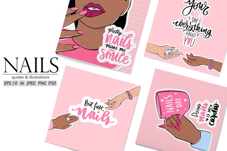 Nails clipart, manicure, female hands, nail art example image 1