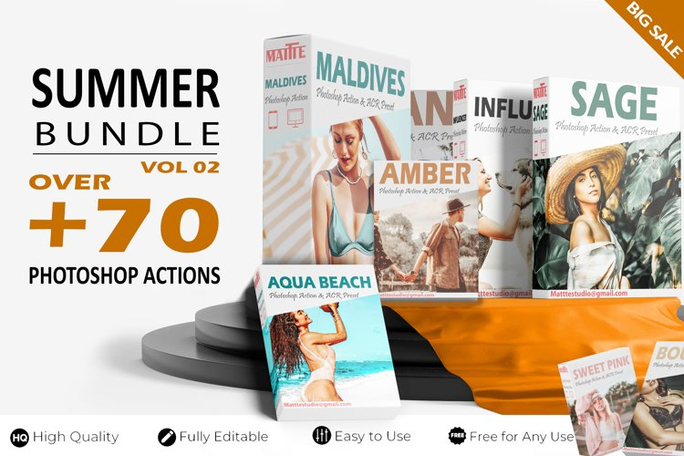 76 Photoshop Actions, Ps Summer Bundle Vol 02, Mega Pack