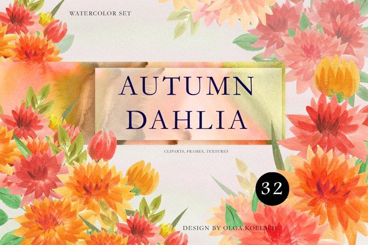 Autumn floral wreath clipart Fall watercolor, dahlia flower