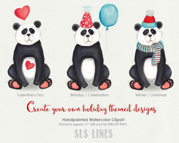 Cute Panda Watercolor Illustration example 1