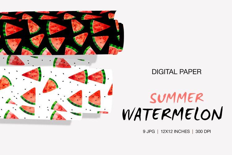 Digital Paper Watercolor Watermelon Slices, Summer pattern