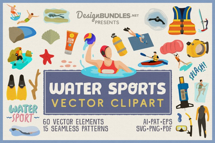 Water Sports Vector Clipart and Seamless Patterns example image 1