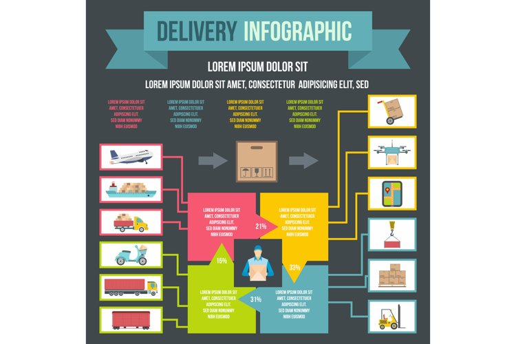 Delivery infographic, flat style example image 1