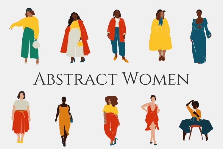 Curvy Woman, abstract clipart, black girl, Plus size Female, example image 1