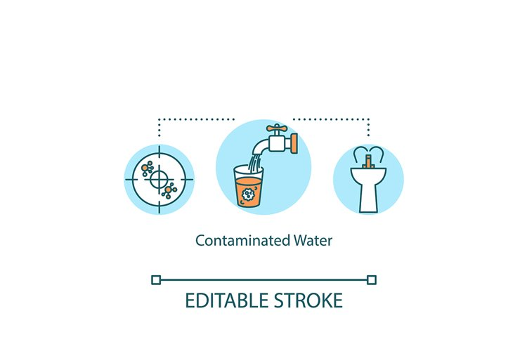 Contaminated water concept icon example image 1