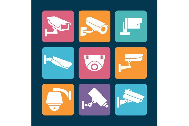 Security cameras white icons on colorful backdrop example image 1