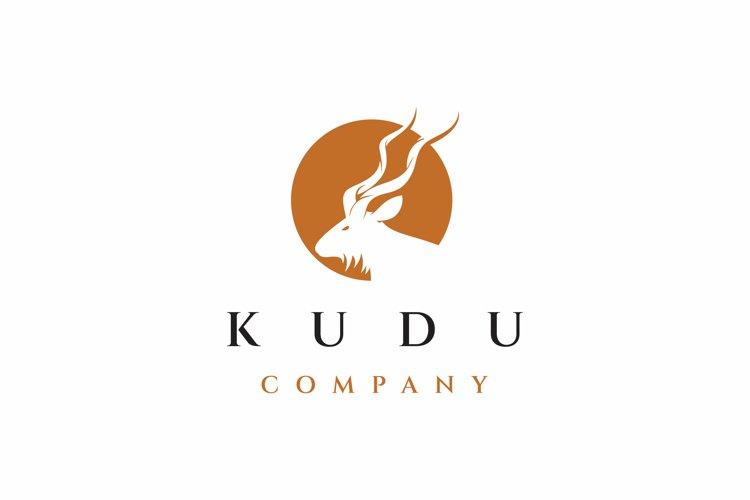 Kudu and sun logo design vector