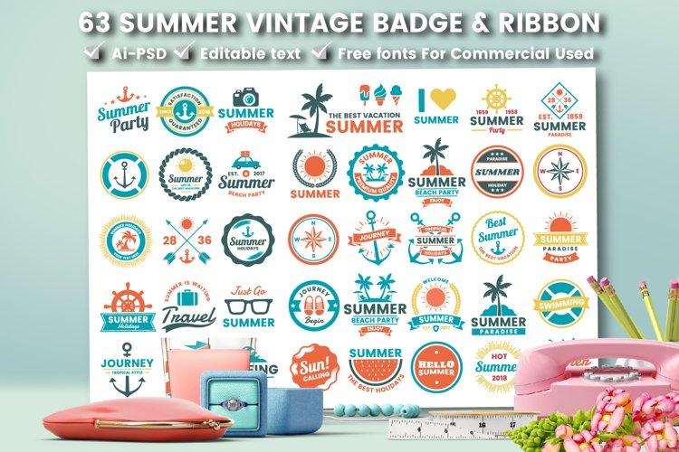 63 SUMMER VINTAGE BADGE & RIBBON