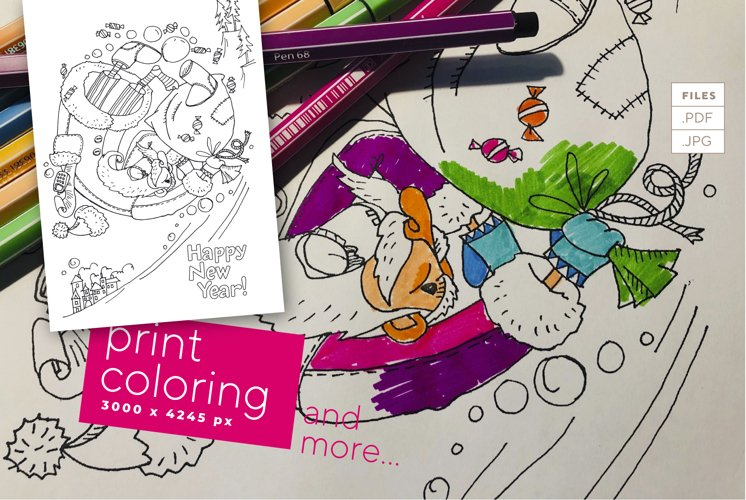 Santa rolls in Christmas mess - coloring for print!