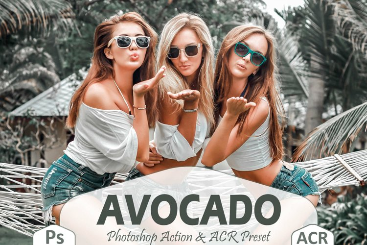 10 Avocado Photoshop Actions And ACR Presets, Grey-Green Ps