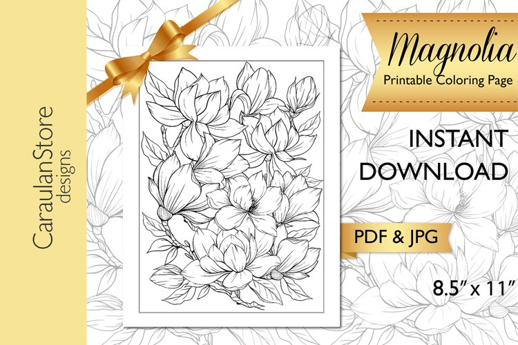 Floral Coloring Book Page, Magnolia Coloring Page, JPG, PDF