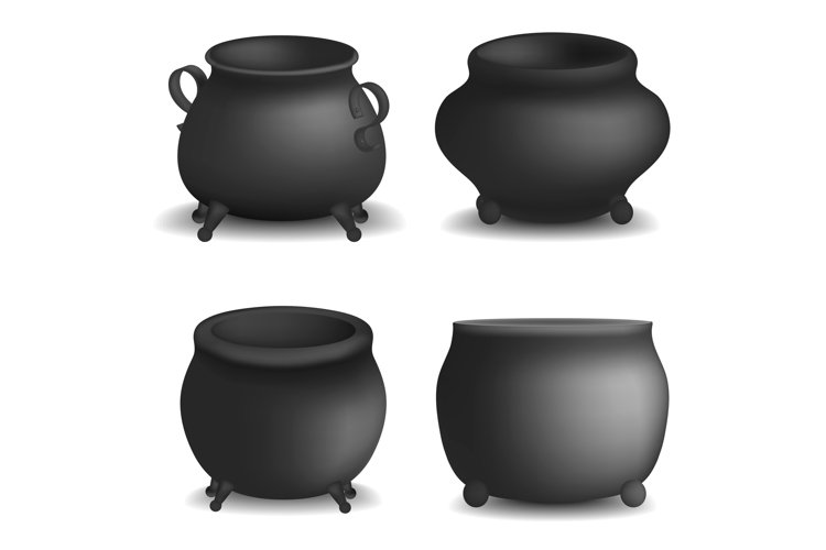 Cauldron pot halloween mockup set, realistic style example image 1