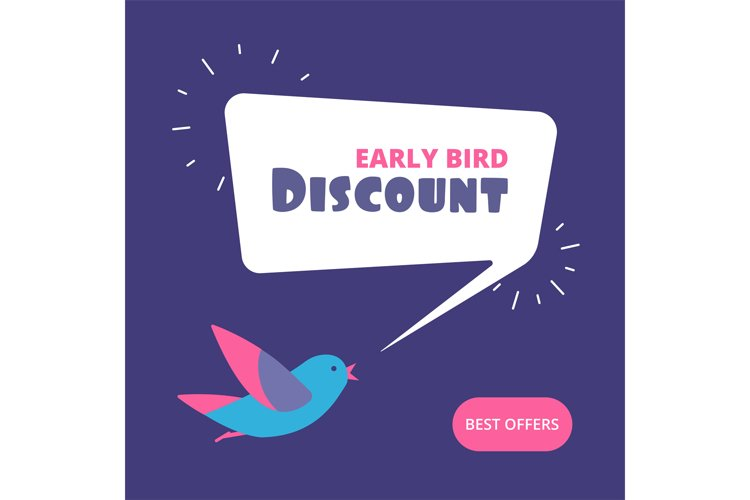 Early bird discount. Special offer sale banner. Early birds example image 1