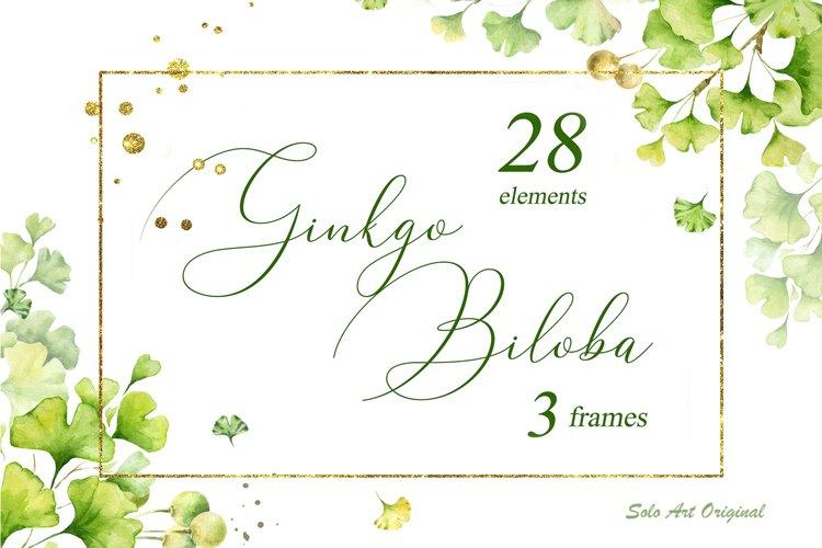 Ginkgo biloba .Watercolor clipart set. example image 1