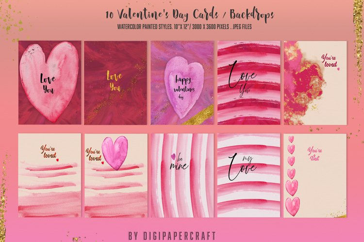 Valentine's Day Digital Paper, Romantic Watercolor clipart example image 1