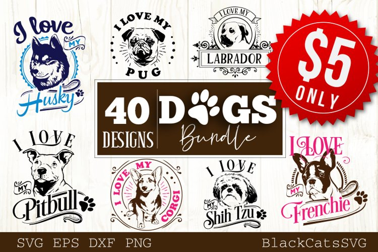 Dogs SVG bundle 40 designs example image 1