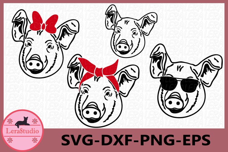 Pig SVG, Farm svg, Pig with Bandana svg, Pig in Sunglasses example image 1