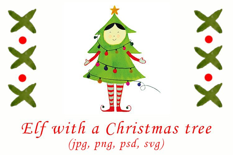 Watercolor Christmas elf with a Christmas tree example image 1