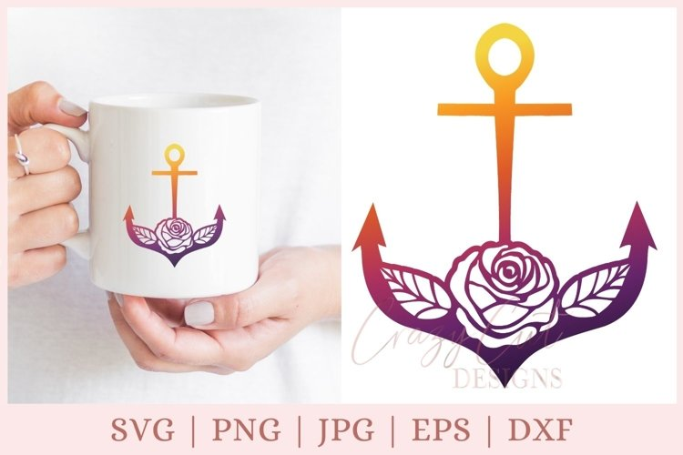 Floral Anchor SVG, Nautical SVG file example image 1