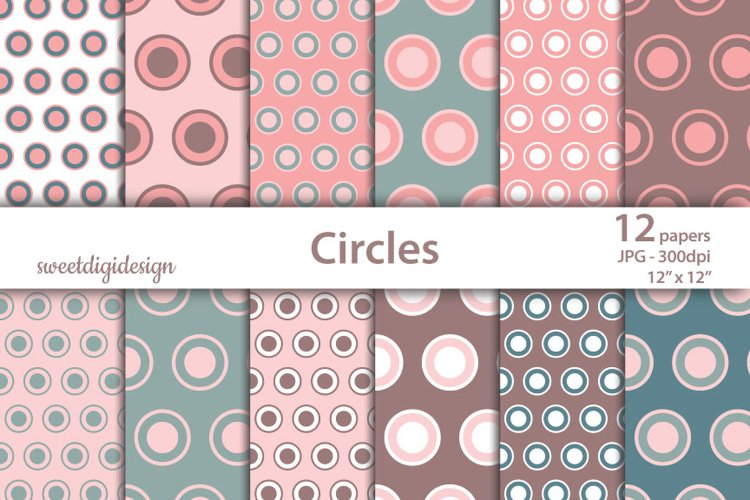 Red and green pastel circles digital background example image 1